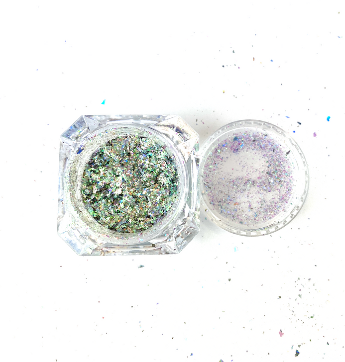 SolarColorDust.com Aurora Holographic Flakes - Vela - Iridescent Holographic Flakes for Resin, Tumblers, Nail Art, Art & Crafts, and More!