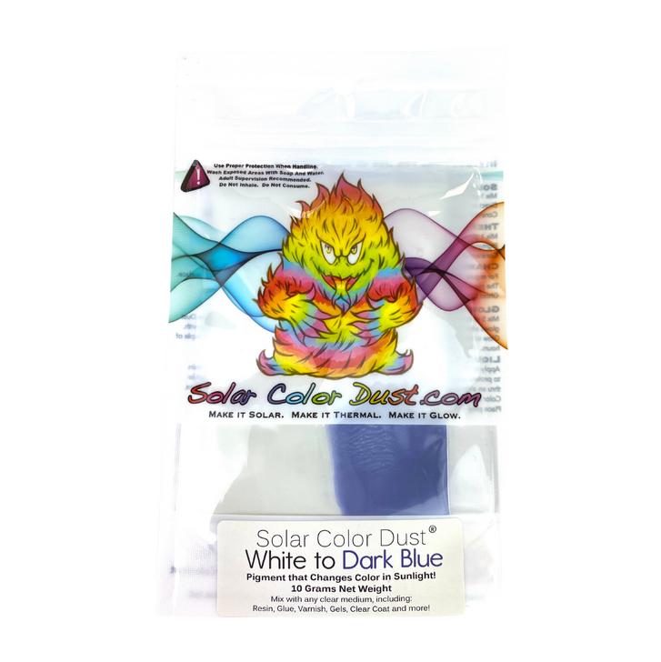 White to Dark Blue Solar Color Dust® UV Sunlight Activated Photochromic Color Change Pigment