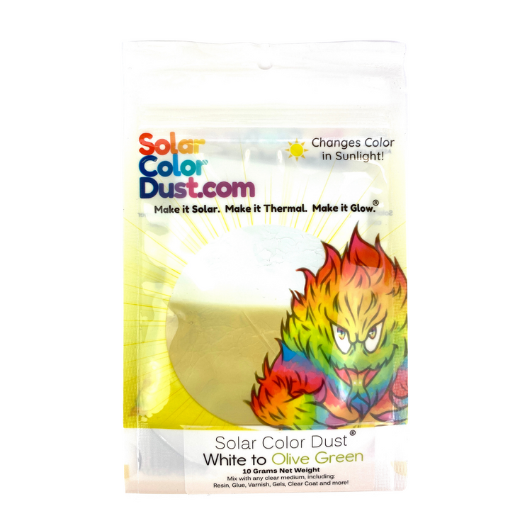White to Olive Green Solar Color Dust® UV Sunlight Activated Photochromic Color Change Pigment