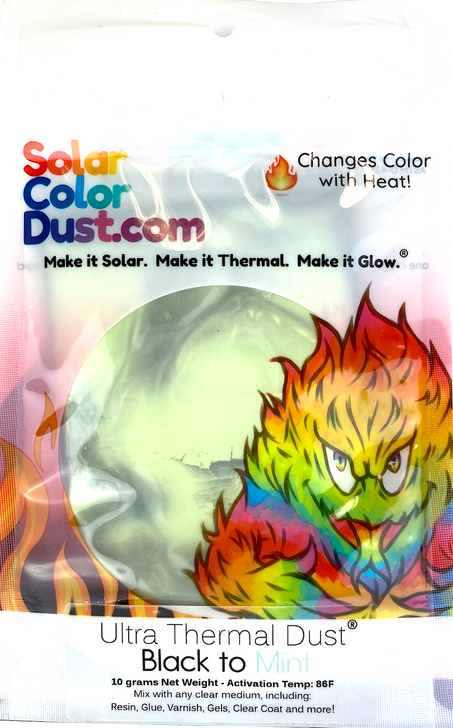 Black to Mint Thermochromic Heat Sensitive Color Changing Pigment