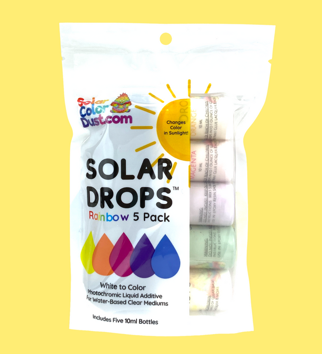 SolarColorDust.com Solar Drops™ Photochromic Liquid Additive Sunlight Color Changing Slurry White to Color