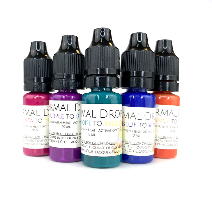 SolarColorDust.com Heat Sensitive Color Changing Thermal Drops® - Thermochromic Slurry Drops Liquid Additive