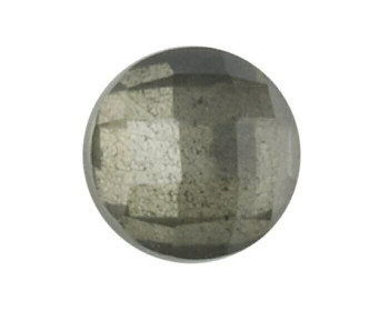 Round 6mm Checkerboard Crystal Quartz and Pyrite Doublet Cabochon Stone, Sold By Each | 79335