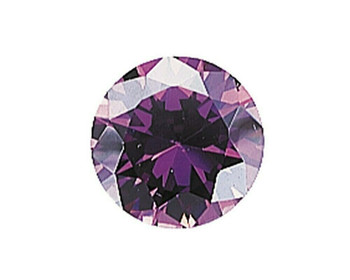 Lab-Created Round 5mm Purple CZ Faceted Stone, Sold By Each | 90152 |Bulk Prc Avlb