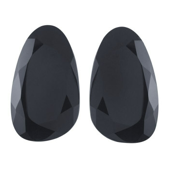 Black Onyx 22 x 13mm Pear Cabochon Slices,  Dyed Natural |Sold by Pair | 79540
