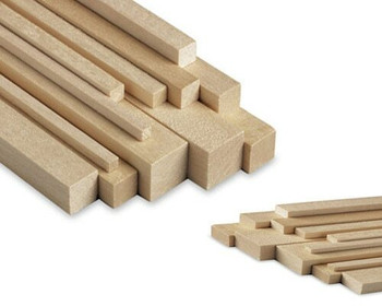"Basswood stick, 1/4 x 5/16 x 48"", Sold By Each 