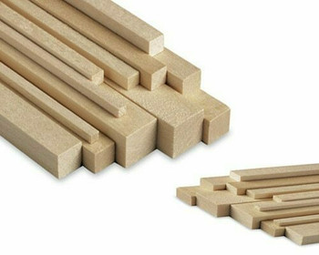 "Basswood stick, 3/16 x 3/16 x 48"", Sold By Each 