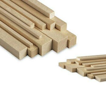 "Basswood stick, 3/16 x 5/16 x 48"", Sold By Each 