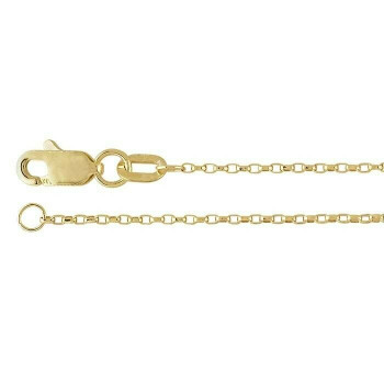 14K Yellow Gold 1mm Diamond-Cut Oval Rolo Chain 16"