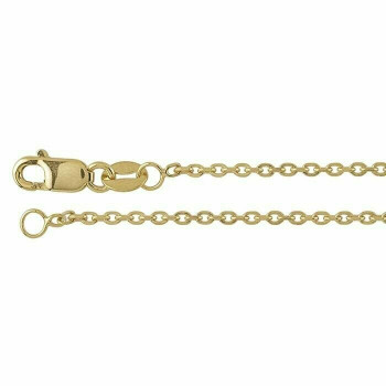 14K Yellow Gold 1.3mm Beveled Oval Cable Chain 18"