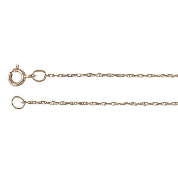 14K Rose Gold 0.7mm Rope Chain 18"