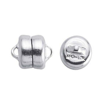 Brass Silver-Plated Mag-Lok Button Magnetic Clasps 7.8mm | Sold by Pair | Bulk Price Avlb | 61005212 PR