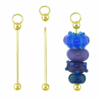Brass Gold-Plated Ball-End Bead Bar Component | Sold By Pair | 629764