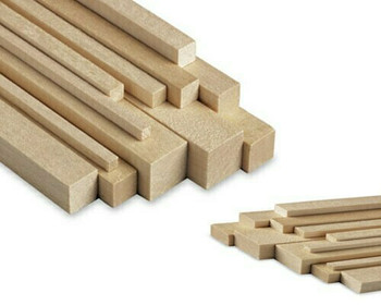 """Basswood stick, 3/8 x 3/8 x 48"""", Sold By Each 