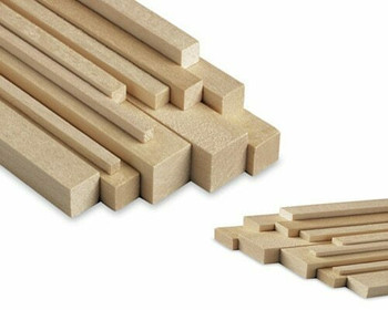 "Basswood stick, 5/16 x 5/16 x 48"", Sold By Each 