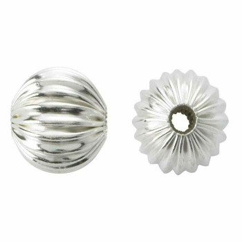 Sterling Silver 6mm Round Corrugated Seamless Bead | Sold By Each | 410014