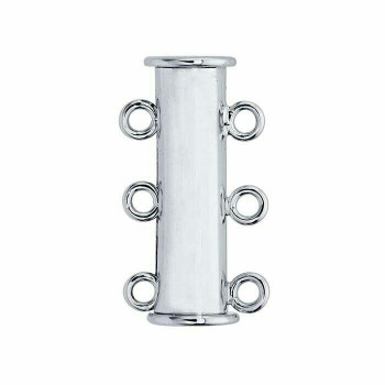 Brass Rhodium-Plated Multi-Strand Tube Slide Magnetic Clasp   Sold by Each    677591