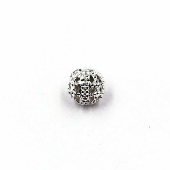 Base Metal Silver Finish Decorative Beads 0.6cm   Sold by Each   XZ13406
