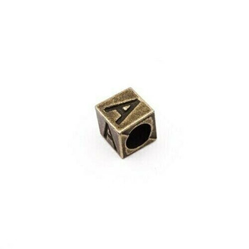 Base Metal Cube Alphabet Letter Beads   Sold by Each   XZ235
