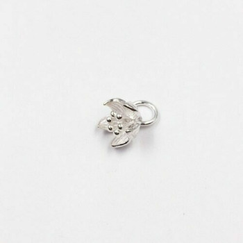 Sterling Silver Lotus Charm   12mm Hanging Length   8.5mm Length   9.7mm Width   4.5mm Hole   ZT0803