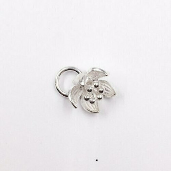 Sterling Silver Lotus Charm | 12mm Hanging Length | 8.5mm Length | 9.7mm Width | 4.5mm Hole | ZT0803
