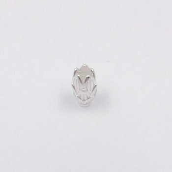 Sterling Silver Large Pinecone Bead | 6.6mm OD | 1.16cm Stringing Length | 2mm Hole | ZT0811