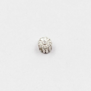 Sterling Silver Flower Bead | 3.5mm Stringing Length | 2.7mm Width | 1mm Hole | ZT0813