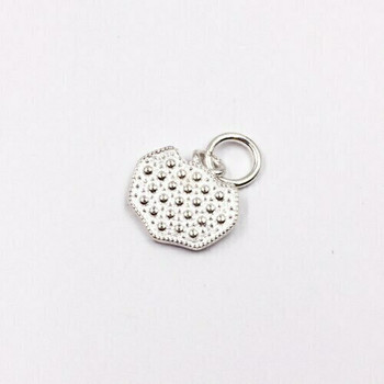 Sterling Silver Badge Charm | 16mm Hanging Length | 13mm Length | 13mm Width | 4mm Hole | ZT0822