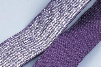 Purple Silver Elastic 2.2cm   By the Ft  ELP22F