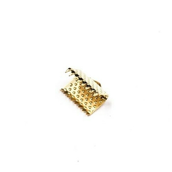 Base Metal Gold Finish Ribbon Clamp 10mm | Sold by Pc | XZ220GLD10