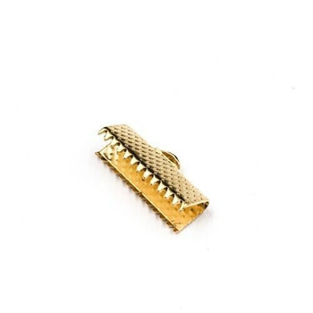 Base Metal Gold Finish Ribbon Clamp 16mm | Sold by Pc | XZ220GLD16