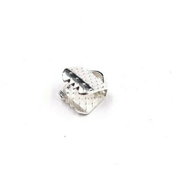 Base Metal Silver Finish Ribbon Clamp 6mm | Sold by Pc | XZ220S6