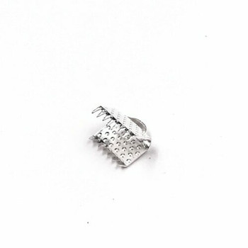 Base Metal Silver Finish Ribbon Clamp 8mm | Sold by Pc | XZ220S8