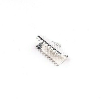 Base Metal Silver Finish Ribbon Clamp 13mm | Sold by Pc | XZ220S13