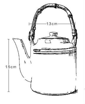 LIft Handle Blue Strip Teapot   TDLH1