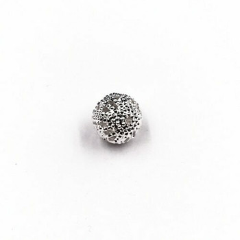 Base Metal Silver Finish Decorative Beads 0.8cm   Sold by Each   XZ13408