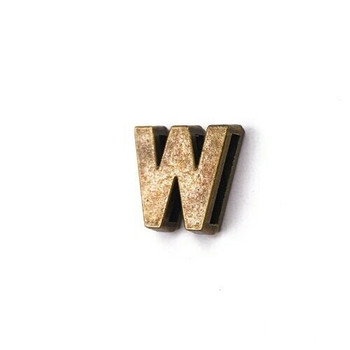 Base Metal Letter Beads   W   Sold by Each   XZ240-W