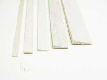 "Balsa wood, Trailing edge, 1/8 x 1/2 x 12"", Sold By Each 