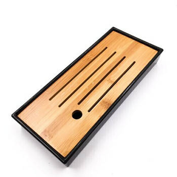 Bamboo Tray with Plastic Base | Black 12cmx28cm | QHS01
