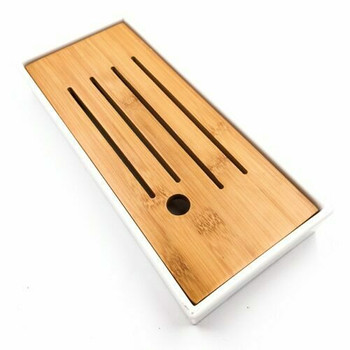 (Damaged) Bamboo Tray with Plastic Base | White, 12cmx26cm | QHS20