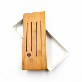 Bamboo Tray with Plastic Base | White, 12cmx26cm | QHS20