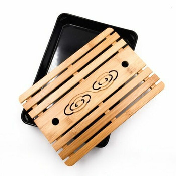 Bamboo Tray with Plastic Base | Black, 19cm x 33cm | QHS02