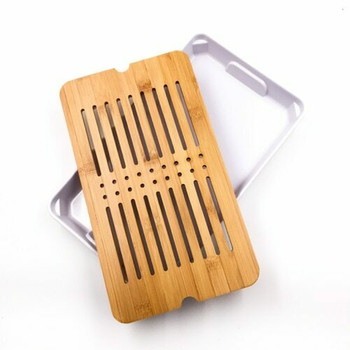 Bamboo Tray with Plastic Base | White, 19cm x 33cm | QHS17