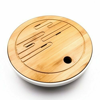 Bamboo Tray with Plastic Base | White, 26cm x 26cm | QHS08