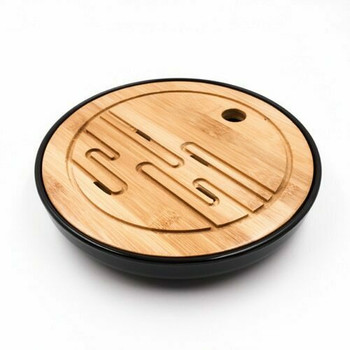 Bamboo Tray with Plastic Base | Black, 21cm x 21cm | QHS04