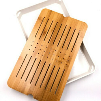Bamboo Tray with Plastic Base | White, 26cm x 43cm | QHS11