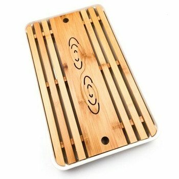 Bamboo Tray with Plastic Base | White, 26cm x 43cm | QHS19