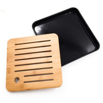 Bamboo Tray with Plastic Base | Black, 20cm x 20cm | QHS16