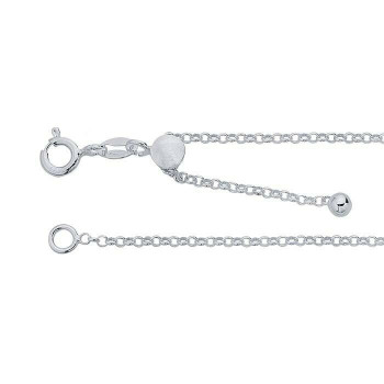 "925 Sterling Silver Round Rolo Chain | 1.6mm | 22"" Adjustable 