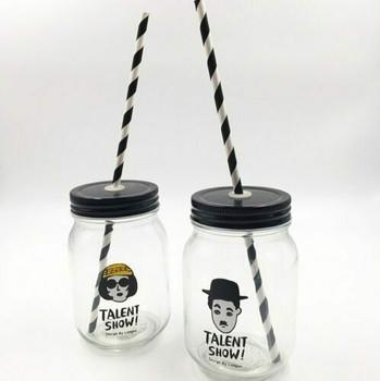 Reusable Mason Jar Bottle with Straw   MJ01